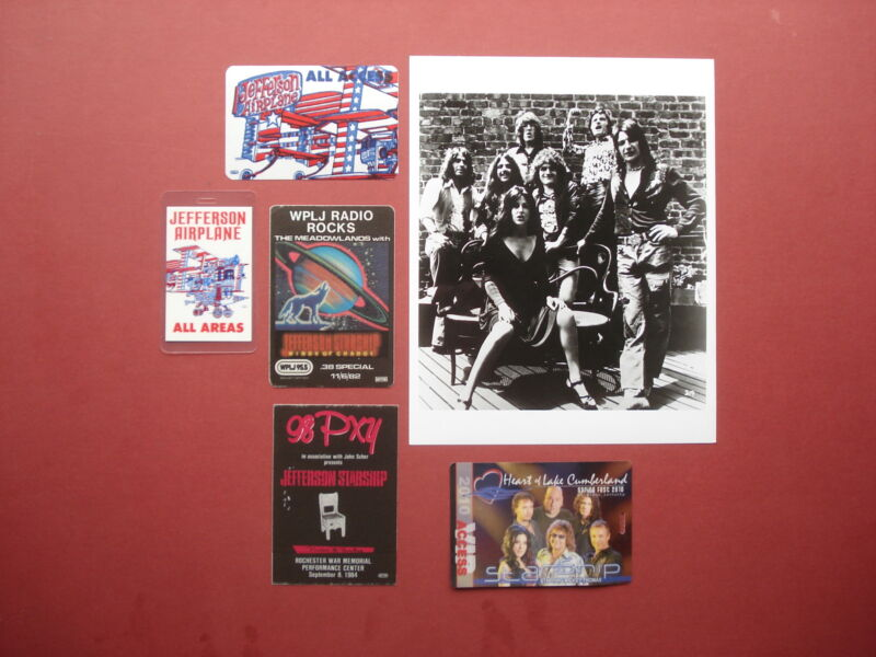 JEFFERSON AIRPLANE,promo photo,5 Original Backstage passes,Various Tours,RARE
