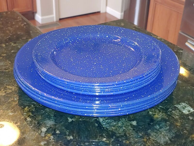 "Set of 10 NEW Medium Blue Speckled Enamelware Metal Camping Plates 8"" & 10¼"""