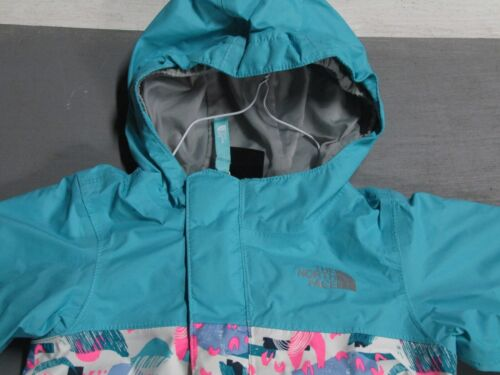 The North Face Tailout Hooded Rain Jacket Baby Infant Girls 3-6 Months Teal Pink