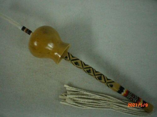 Gourd Dance Rattle, Peyote Beaded Handle, Thread Wrapped Tip             gdr hn1