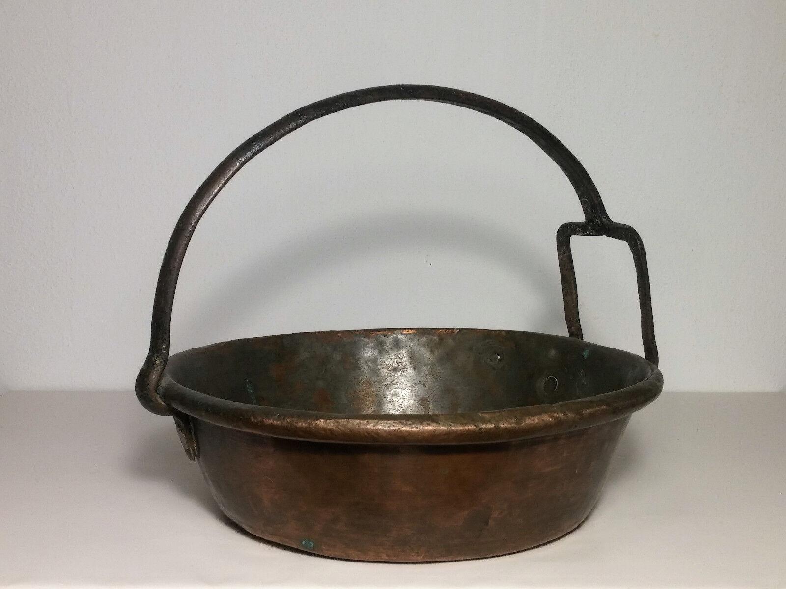 Risottiera antica pentola in rame casseruola vintage paiolo padella rustica 1800