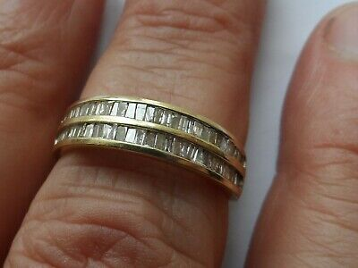 6H Ladies solid 9k gold natural baguette Diamond half eternity ring size P