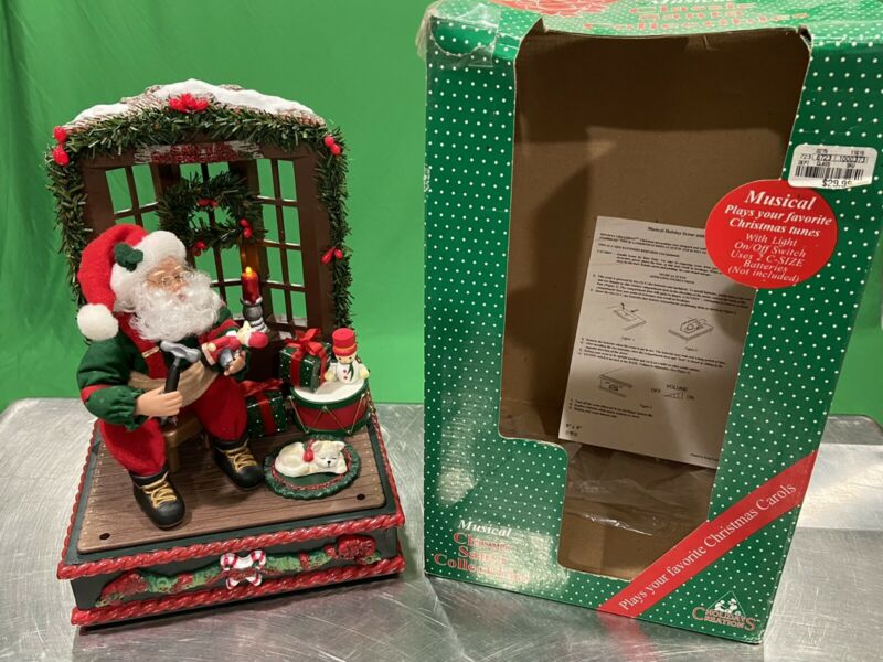 Holiday Creations Lighted Musical Scene Santa's Workshop 1995 Light Up Rare!
