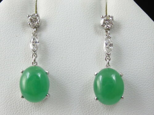 Jade Diamond Earrings 18K White Gold Dangle Drop Estate Fine Jewelry Nephrite