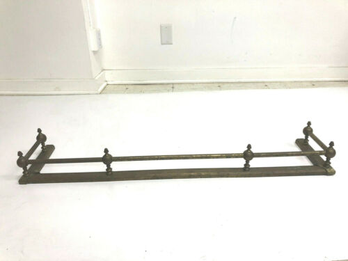 Vintage BRASS FIREPLACE FENDER hollywood regency gold surround gate guard empire