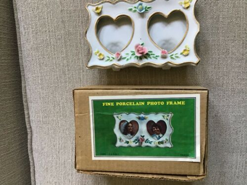 Fine porcelain Double HEART Picture  photo frame NEW in Box made in Tawain Roses