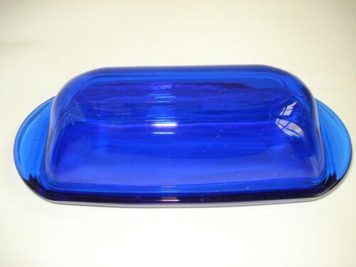 Vtg ANCHOR HOCKING Cobalt Blue Glass BUTTER DISH w Lid