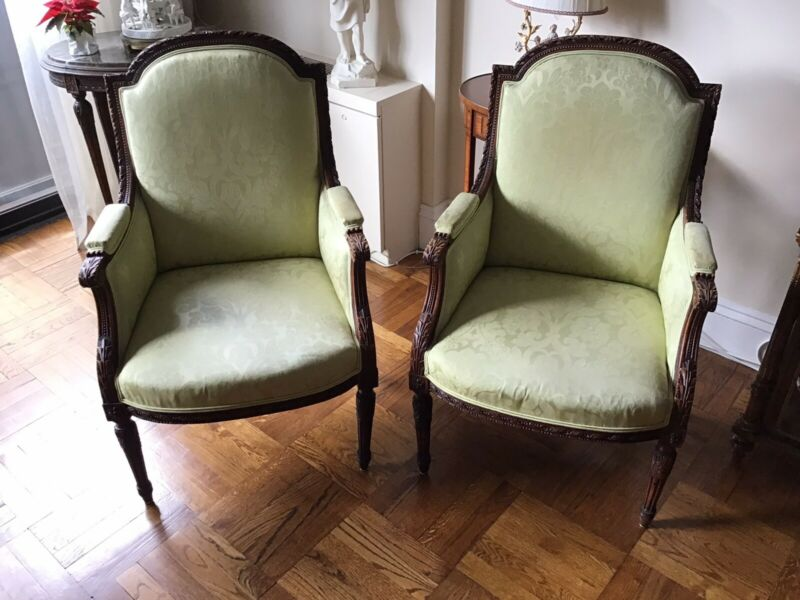Pair of Antique French Louis XVI Hand Carved Wood Armchairs Fauteuils