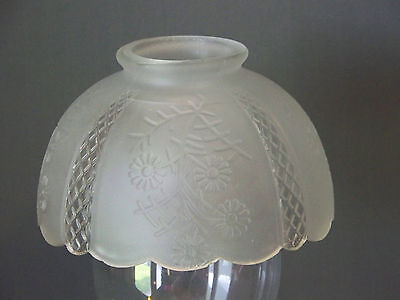 """Frosted glass shade pressed flowers diamond design light fitxure 3 1/4"""" fitter"""
