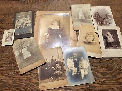 Vtg Antique Lot Cabinet Photo Children (Halloween Costume & Period Clothing)