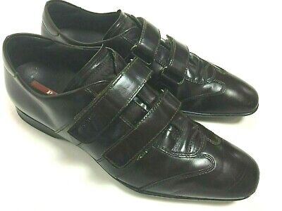 VTG Prada Milano Dark Brown Leather Black Shoes Sneakers Mens Sz 7