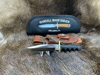 Randall Model 14 Attack Miniature Knife With Micarta Handles Leather Sheath Mint