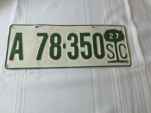 1927 SOUTH CAROLINA RESTORED LICENSE PLATE A78-350