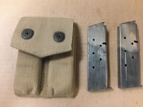 Colt 1911 45acp WWI two-tone magazines with Russell 1918 double pouch