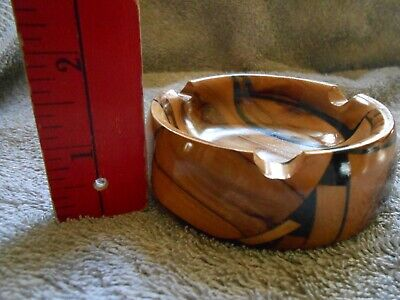 STUNNING Mid-Century RETRO Vintage ASHTRAY Wood Round BURL+Ebony Wooden MINT Old