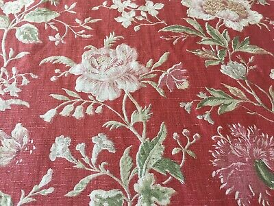 Four Yards Vintage Dark Red Floral Fabric Flowers Shabby Cottage Chic Farmhouse French Country Home Decor Material