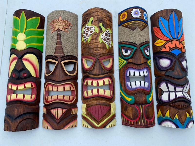 "SET OF 5 20"" TIKI MASK HAWAIIAN WALL ART ISLAND HOME DECOR BAR TROPICAL"