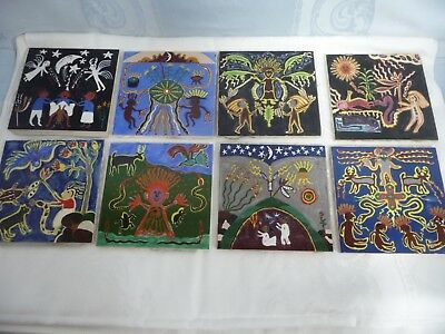 EIGHT HAND PAINTED TILES - ARCHITECTURAL OFF A BUILDING - SOUTH/CENTRAL AMERICAN