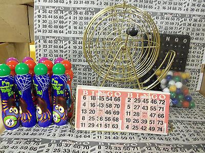 TABLETOP BRASS BINGO CAGE-PLASTIC BALLS; 2000 CARDS; 12 DAUBERS!