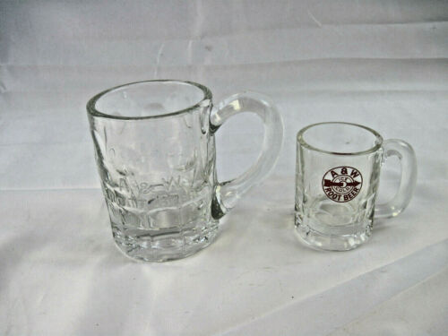 2 Vintage A & W Root Beer Mugs Heavy Glass Arrow Logo Advertising 12 and 4 oz