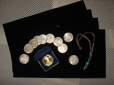 """BLACK VELVET COIN JEWELRY DISPLAY TRAY PAD NEW. 14 1/8"""" X 7 5/8"""" FOUR (4) PADS"""
