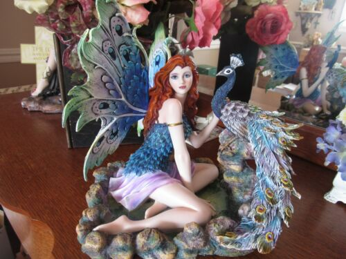 """12"""" Auburn-haired Blue-eyed Fairy Figurine with Peacock New in Box!"""
