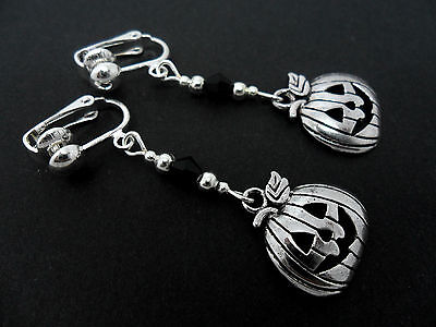 A PAIR OF  TIBETAN SILVER DANGLY  PUMPKIN HALLOWEEN CLIP ON EARRINGS. NEW.