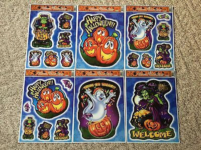 Set of 6 Halloween Window Clings-Reusable, 6 Different Designs, 12 x 16.5