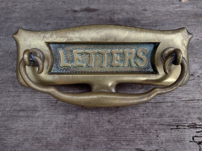 Antique Edwardian Brass Sprung Letterbox Door Knocker with Fittings