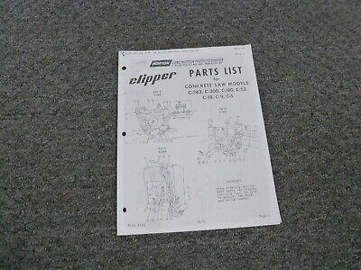 Norton Clipper C-18 C-9 C-5 Concrete Saw Parts Catalog Manual