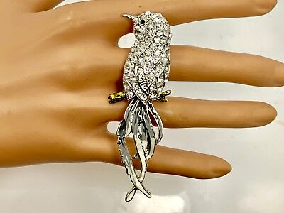 Crystal Bird Two Finger Ring - Silver Tone