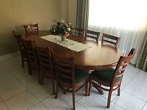 12 Seater Solid Timber Table & Chairs East Hills Bankstown Area Preview