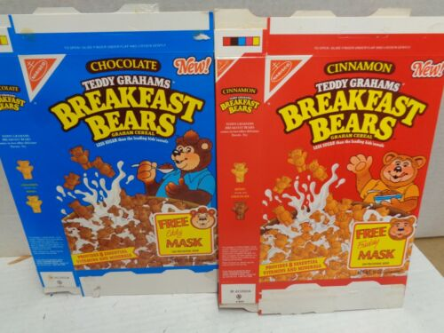 Nabisco Breakfast Bears Chocolate & Cinnamon 2 BOXES box 1989 Vintage cereal