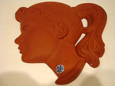 Wandmaske 50er Jahre Mädchenkopf  Frauenkopf  Pferdeschwanz  Marke Marzi Remy