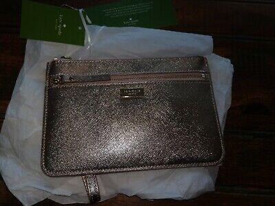 New Kate Spade NY Tinie Laurel way zip wristlet Crossgrain Leather Rose Gold