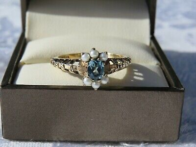 VINTAGE 9 CARAT GOLD BLUE TOPAZ AND SEED PEARL SET  RING VERY GOOD  CONDITION