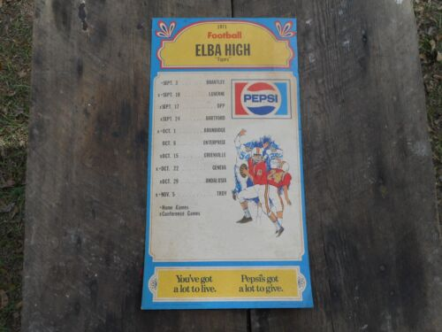 Vintage 1971 Elba Alabama Tigers High School Football Sign Calendar Pepsi Cola
