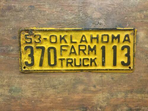 VINTAGE 1953 OKLAHOMA FARM TRUCK LICENSE PLATE