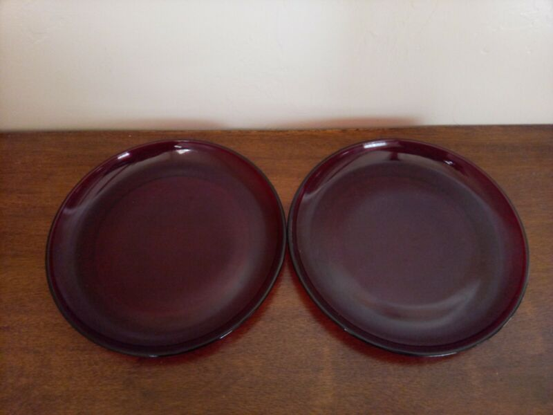 """(2) Anchor Hocking Royal Ruby Red Glass R4000 7 1/4"""" Salad Plates"""