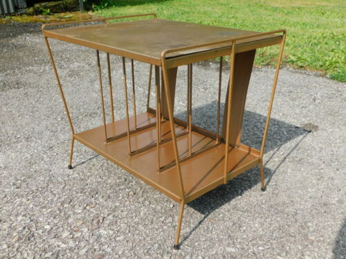 60s Retro RAD All Metal Wire Record Rack Cabinet Table Stand Mid Century Modern