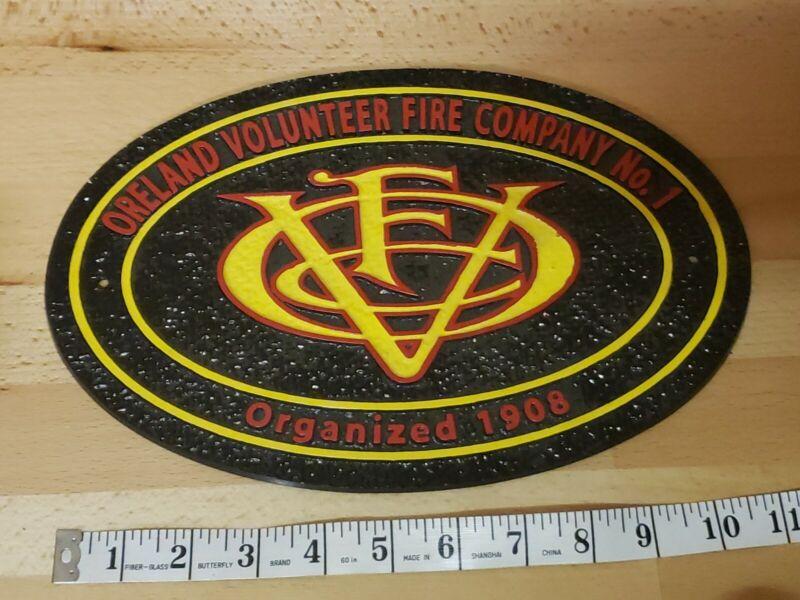 Oreland Volunteer Fire Co. No.1 Organized 1908 Metal Plaque