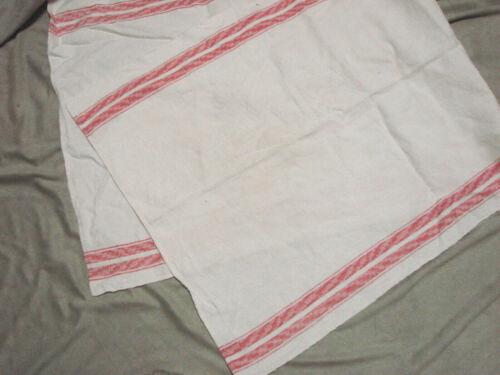 Vintage Towel Damask RED STRIPE Cotton Antique 17x42