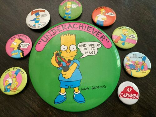 Vintage The Simpsons Bart Simpson Button Lot 80