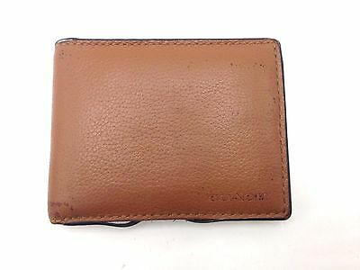 $275 COACH MENS BROWN LEATHER BILLFOLD BIFOLD CARD CASE PASSCASE HOLDER WALLET