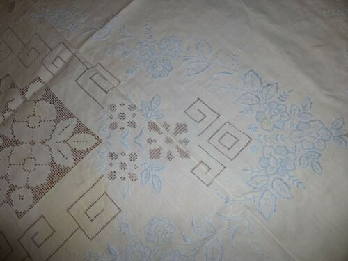 "Vintage Fine Linen Tablecloth 98""x 66"" w/ Hand Embroidery  Drawnwork in Blue"