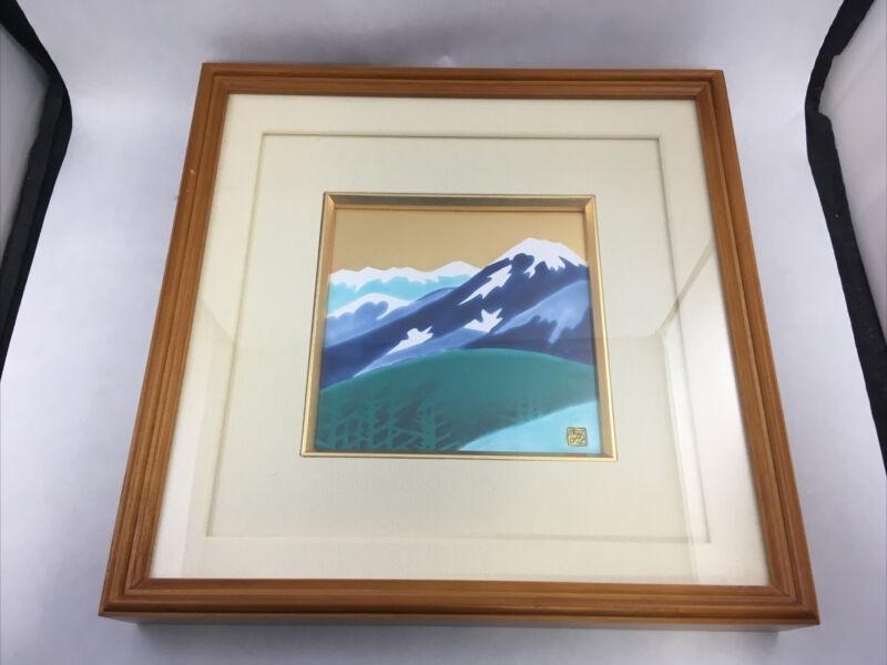 Vintage Japanese Enamel Painting Mt Fuji Landscape Gold Sky Framed  Asian Art