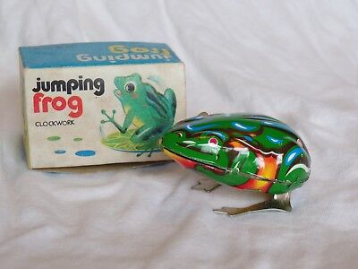Vintage Jumping Frog Wind-Up Toy Great Working Condition