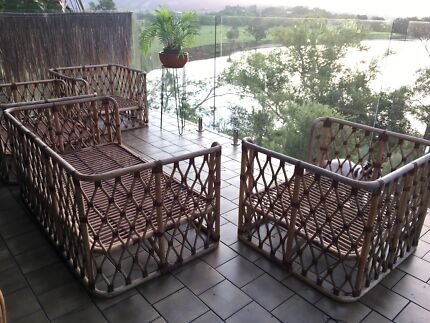 Art Deco style cane chairs and lounge suite