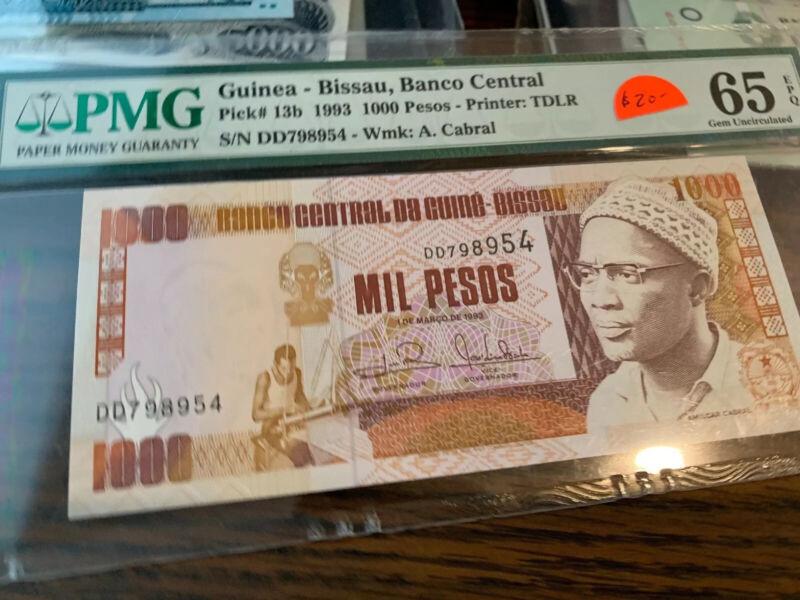 Guinea-Bissau 1993 1000 Pesos Bank Note P-13b Gem New PMG 65 EPQ