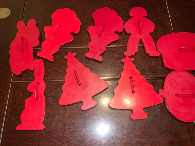 Vintage Set of 9 Red Plastic Winter/Christmas Cookie Cutters w/Handles